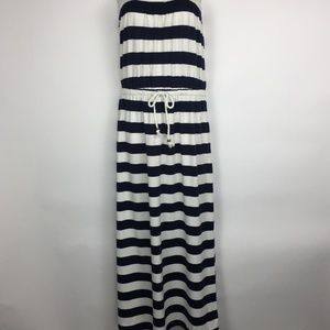 Gap Tube Top blue and white strip maxi